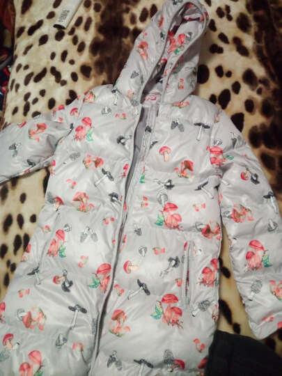 笛莎儿童女童羽绒服2017冬季新品品牌中长款外套女孩中大童甜美印花羽绒服714 灰印花 160 晒单图