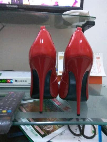 高足秀 单鞋性感超高跟鞋14CM高夜店细跟漆皮浅口尖头变装超伪娘情趣大码鞋 黑色16厘米 38 晒单图