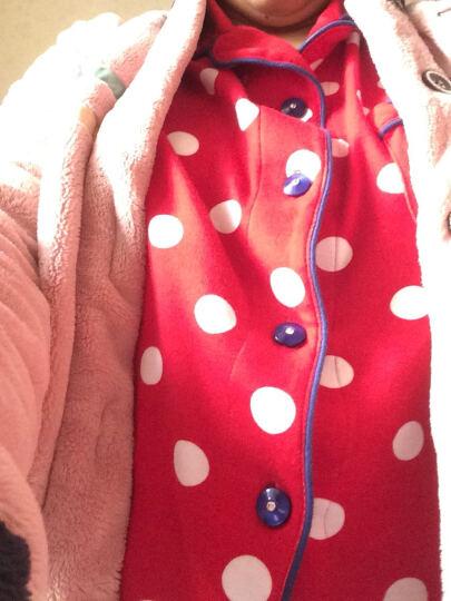 雅婷雅雯睡衣女秋长袖纯棉中长款家居服女士套装4775 红白点(短款) 170/100/XL 晒单图