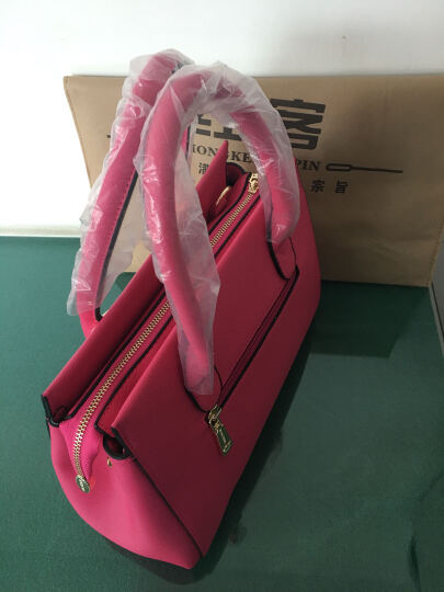 红客 新款女包手提包女子母包欧美时尚单肩包定型斜挎包三件套大包9226 玫红色 晒单图