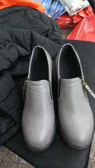 些久小皮鞋2017春季新款拉链圆头英伦高跟粗跟舒适休闲套脚小皮鞋 灰色 37 标准码 晒单图