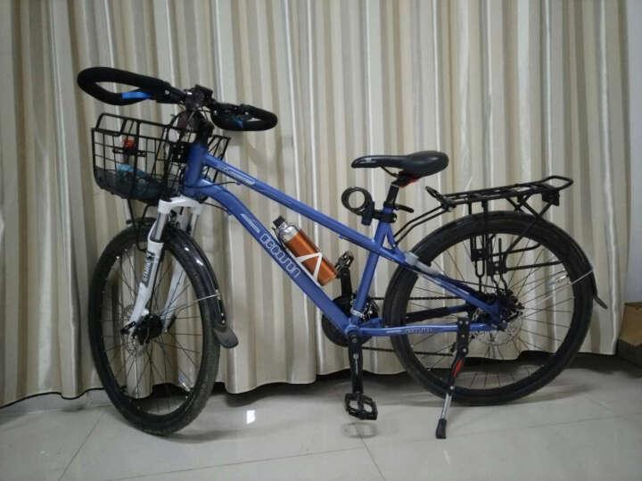旅行车自行车铝合金山地车700C 禧玛诺24速 蝴蝶把前后碟刹公路车 专业旅行车黑色 晒单图