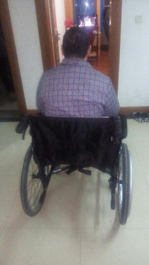 康扬进口老人轮椅残疾人代步车加宽加大加固加高超宽超大大胖子铝合金轻便折叠老年人手推车KM-8520X 57厘米坐宽 承重320斤 铝合金脚踏和扶手圈 晒单图