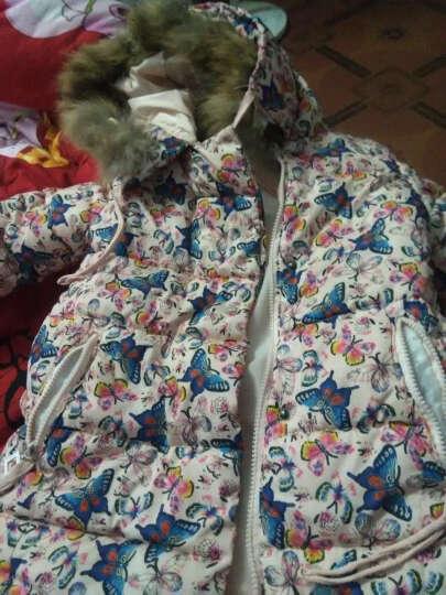 新棉广织女童棉衣冬装中大童棉袄外套中长款棉服加厚外套 白色 2 晒单图