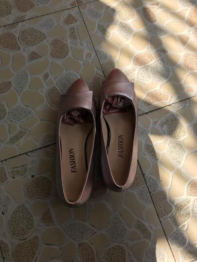 宝思特新款真皮单鞋女粗跟圆头坡跟妈妈鞋浅口职业工作女皮鞋网纱女鞋子 米色 37 晒单图
