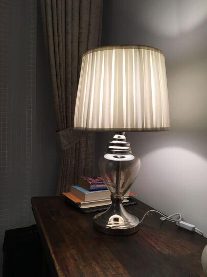繁登堡(fandengbao)现代简约北欧式玻璃台灯卧室床头灯美式创意客厅书房装饰台灯 晒单图