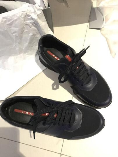 PRADA 普拉达 男士黑色煤灰色织物配皮系带运动鞋 4E3039 1OCO F0A13 8/42码 晒单图