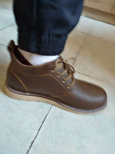 马登秋冬季新款马丁靴男士真皮靴短靴军靴工装鞋牛仔靴子男靴休闲皮鞋男 古巴棕 39 晒单图
