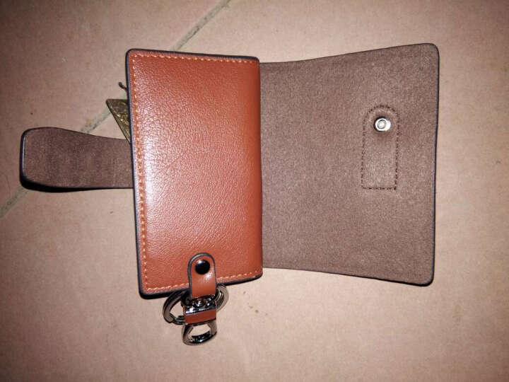 欧格eurcool男士时尚牛皮钥匙包可插卡锁匙包汽车遥控钥匙包 棕色 晒单图