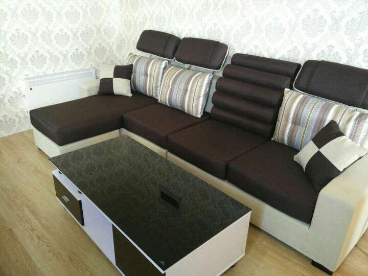 简莎(JENRS SAR) 新款布艺沙发组合可拆洗简约现代小户型客厅布艺沙发三人双人沙发 粉红+米白(绒布) 四位+脚踏2.8米(旗舰版)送茶几电视柜 晒单图