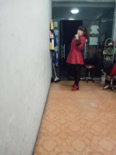 琳清暇2018秋冬新款皮衣女中长款加厚加绒皮风衣机车水洗皮夹克外套女 红色 XL 晒单图