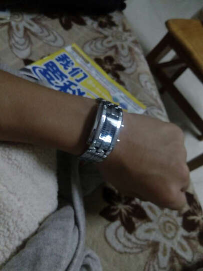 时刻美(skmei)手表男士运动电子表创意时尚腕表夜光防水七夕送礼男女情侣手表LED学生国产男表 银色合金小号(防水) 晒单图
