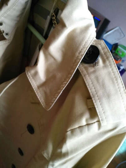 依双丽欧洲站2018秋装新款明星同款女士欧美中长款大衣双排扣风衣外套潮1125 黑色 L 晒单图