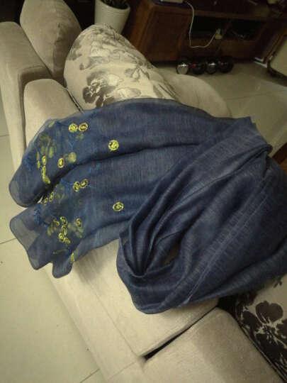 甘甘的世界 中年女装2018春新款羊毛真丝刺绣花朵长款围巾刺绣 深蓝色 均码 晒单图