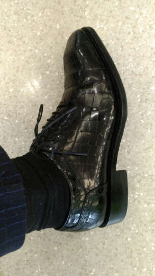 UROK新款男士商务正装手工皮鞋男定制牛皮鳄鱼真皮固特异鞋男时尚方头透气系带牛津鞋 黑色 39 晒单图