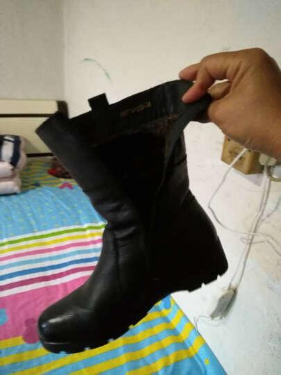 宝思特新款女靴真皮妈妈鞋 中老年坡跟厚底保暖舒适短靴女鞋中筒马丁靴加绒女鞋 黑色薄棉 37 晒单图