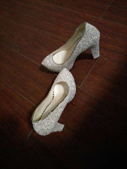 足迹缘新款高跟鞋女防水台高跟单鞋粗跟时尚婚鞋水晶鞋女 金色 38 晒单图