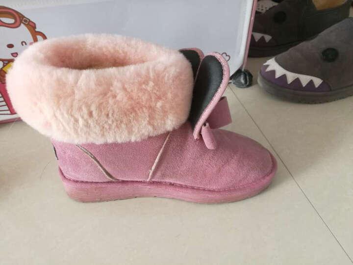 Lordel女鞋雪地靴短靴女内增高冬季新品翻口羊毛毛女靴子平底真皮学生棉鞋子 黑色(内增高) 35 晒单图