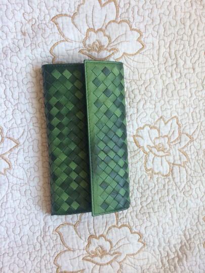 乐代真皮女包新款高品质羊皮革编织小钱包手拿晚宴包 心弦 绿色  渐变 晒单图