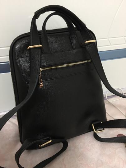 伊贝莎 新款牛皮双肩包女韩版学院风背包休闲两用菱格女士包包潮 黑色 晒单图