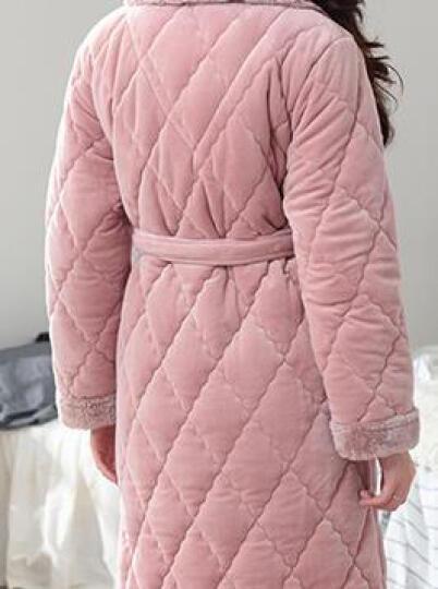 慕莉娜 秋冬加厚睡袍睡衣女法兰绒长袖浴袍珊瑚绒家居服  80斤-140斤可穿 玫红色 M码 晒单图
