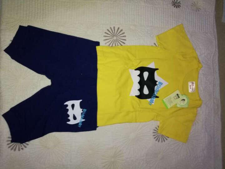 北辰宝贝(Beichen Baby) 男童夏装套装 韩版中大童短袖T恤两件套装童夏装套装 大嘴猴-中灰+中蓝 150 晒单图
