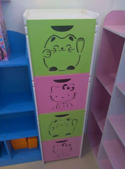 维克特 多层卡通玩具收纳柜储物柜化妆品整理柜儿童衣柜收纳箱 简易书架置物柜 2绿+2粉  四层 晒单图