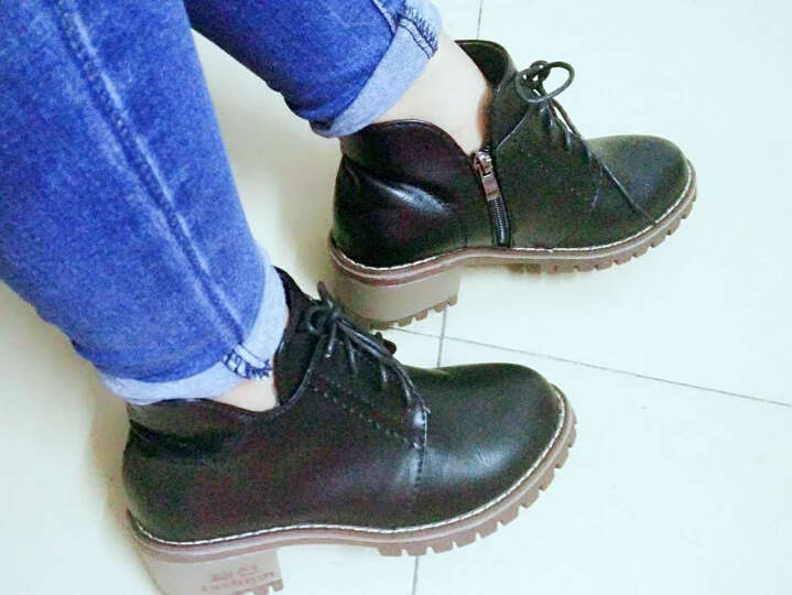 瑞欧短靴女2019秋冬季新款擦色圆头高跟鞋粗跟鞋防水台马丁靴女短靴 黑色 37 晒单图