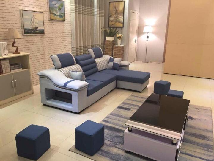 简莎 布艺沙发组合可拆洗大小户型简约现代客厅家具整装U型转角布沙发916 浅灰+黑色 麻布 七件套(舒适版送地毯)4米 晒单图