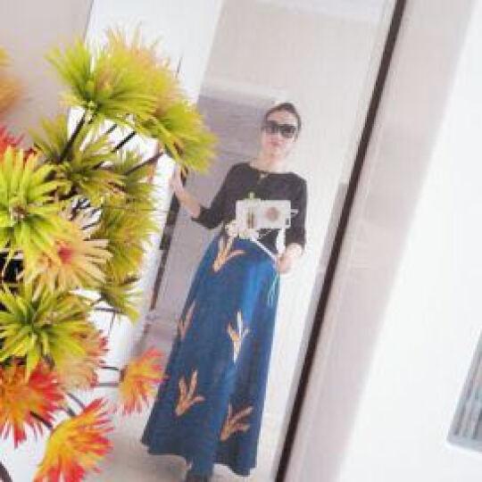 威娅纪原创连衣裙女2018早春新款七分袖印花时尚修身显瘦气质复古连衣裙 性感黑 M 晒单图