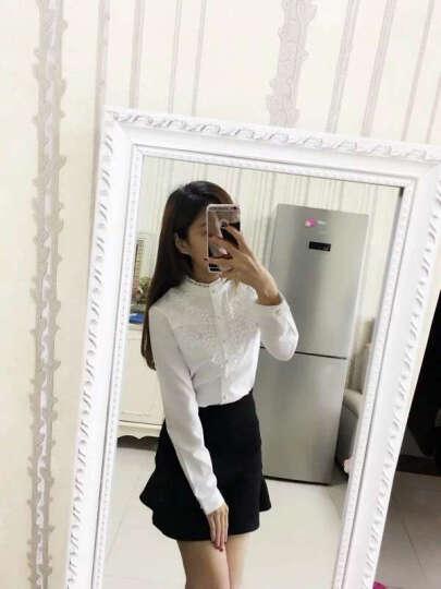 天籁之城 衬衫女 2017新款长袖打底衫职业时尚修身显瘦百搭立领女衬衣 1517 白色加绒 L 晒单图
