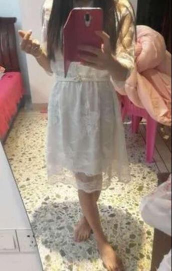 cc小姐2017夏季新款气质蕾丝雪纺连衣裙V领性感微透视收腰A字裙白色送腰带 白色 M 晒单图