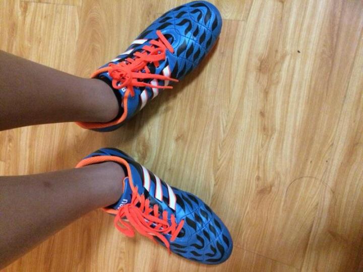 【送球袜】豹步新款成人足球鞋儿童皮足男碎钉人工草地训练长钉童鞋 616-1蓝色 37 晒单图