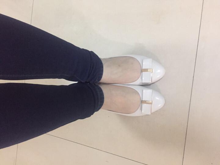 蛋卷鞋秋新款甜美小清新公主鞋浅口蝴蝶结内增高平底妈妈单鞋 白色 37 晒单图