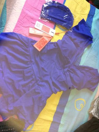 舒漫 泳衣女连体大码裙式平角保守游泳衣带胸垫温泉泳装 宝蓝色 XXL 晒单图