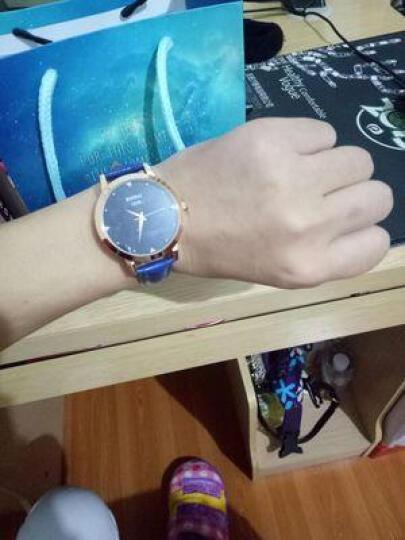 宾派(BinPai)手表女士真皮带璀璨星际钢带女表 简约女式腕表  送女友时尚防水石英表 蓝砂石皮带-紫色 晒单图