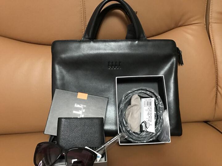 ELLE HOMME公文包男包头层牛皮手提包横款商务男士大容量电脑包 黑色大款E243809011 晒单图