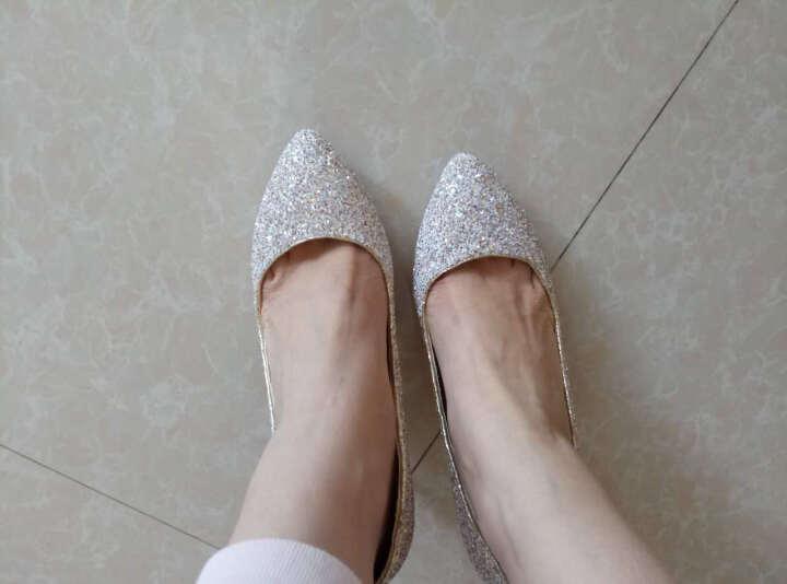 足迹缘欧美高跟鞋女新款结婚伴娘鞋性感百搭水晶鞋尖头女细跟晚礼服高跟单鞋 蓝色 38 晒单图