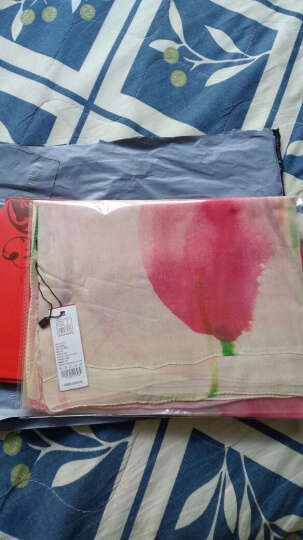 上海故事真丝丝巾桑蚕丝绸披肩春夏保暖围巾女 粉色郁金香 晒单图
