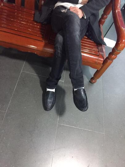 古洋城新款男鞋透气豆豆鞋男牛皮男士休闲皮鞋驾车鞋套脚懒人鞋夏季 mz-18606-蓝 42 晒单图