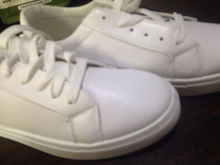法诺雅 小白鞋子男韩版潮流休闲加绒保暖男鞋秋冬季新款平板鞋男学生皮鞋棉鞋 8128白绿色 41 晒单图