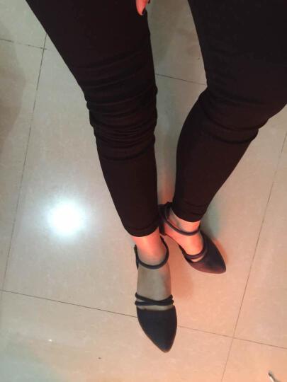 行森2017凉鞋女夏韩版一字扣中空浅口鱼嘴高跟鞋粗跟尖头中跟大小码女鞋 米色 37 晒单图