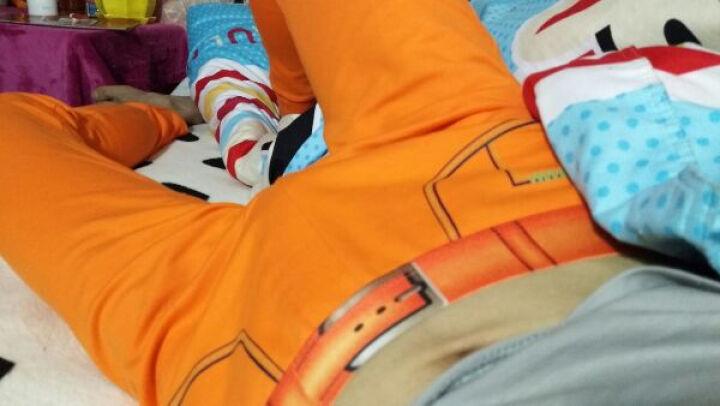 华杰龙男士秋裤 单件紧身弹力棉单色仿腰带印花性感潮男打底裤 橙色 L(170/80) 晒单图