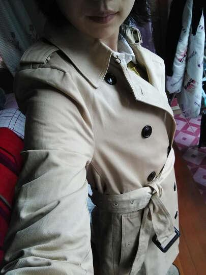 依双丽欧洲站2017秋装新款明星同款女士欧美中长款大衣双排扣风衣外套潮1125 黑色 L 晒单图