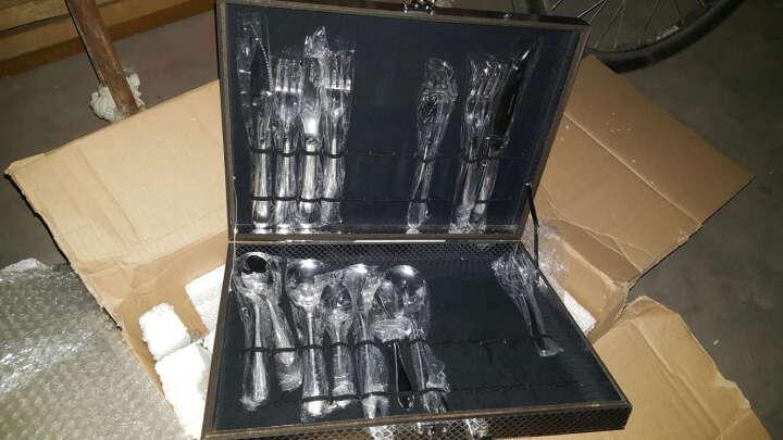 Z-SHINE 晟维高端不锈钢刀叉套装 牛排刀叉勺子西餐餐具礼盒24件套装水果叉子 12件金色盒 晒单图