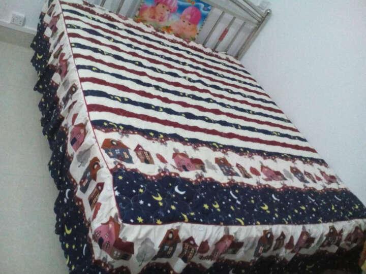圣茂 秋冬加厚夹棉床裙单品单双人床床罩单件 床上用品 甜蜜花丛-蓝 180*200cm 晒单图