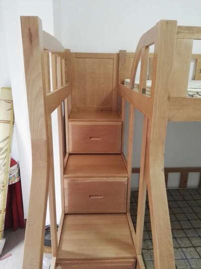 大梵林儿童床上下床高低床子母床双层床全实木床榉木 (胡桃色)梯柜双层床+拖床 1500*2000 晒单图