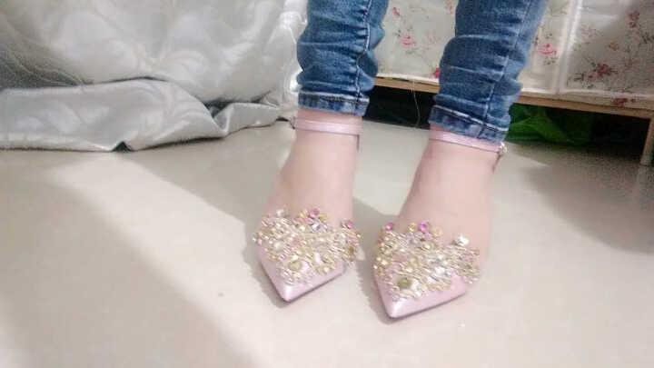 卡芭斯女士尖头高跟鞋女细跟防水台女鞋高跟2018新款浅口单鞋 KBS70153银色 34 晒单图
