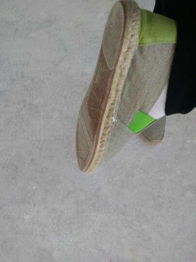 ksd 春季新款老北京布鞋 一脚蹬懒人帆布鞋 草编亚麻底情侣透气休闲男女鞋春季 歪头蓝色 43 晒单图