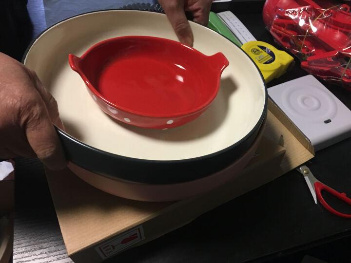 西芙Siv.Heike 创意双耳焗饭盘欧式陶瓷家用圆形芝士盘子意面盘 波点时尚 红色 晒单图